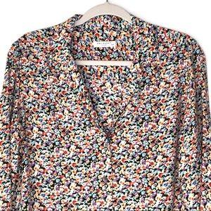 EQUIPMENT. 100% Silk Floral Button Up Blouse